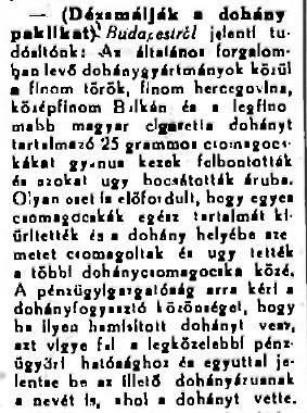 1924.04.12. Dézsmálják a dohányt