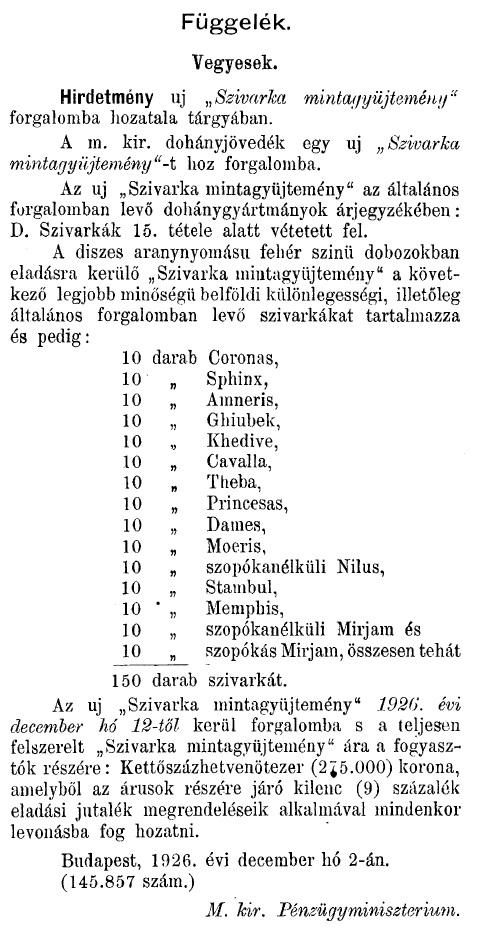 1926.12.10. Cigaretta mintagyűjtemény