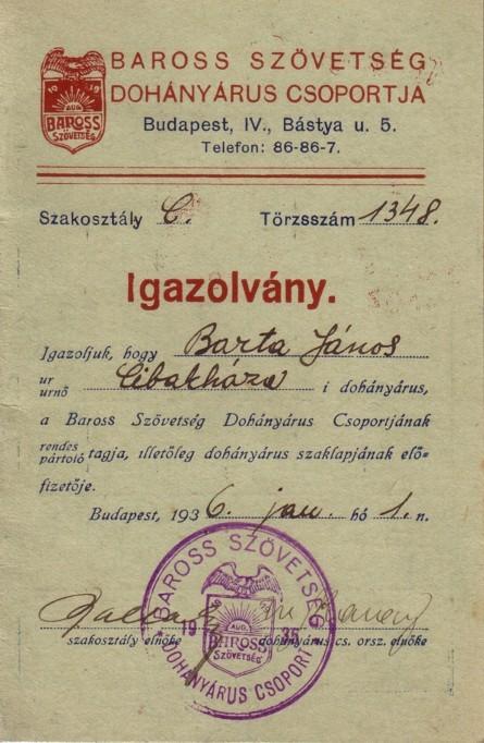 Dohányárus igazolvány 1936.
