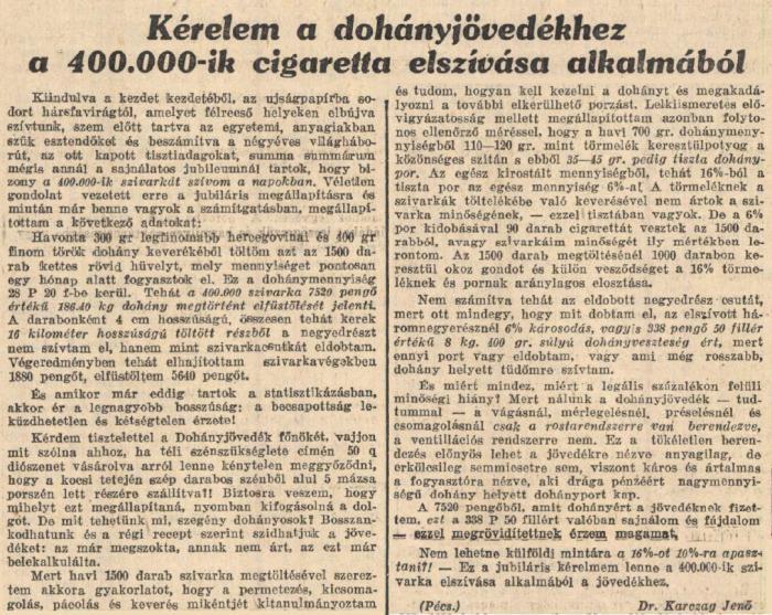 1935.12.08. Kérelem a Dohányjövedékhez