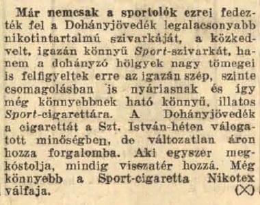 1939.08.20. Sport cigaretta