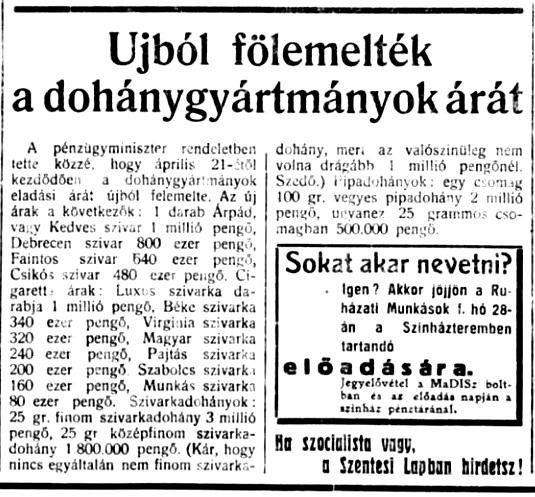 1946.04.25. Dohány áremelés